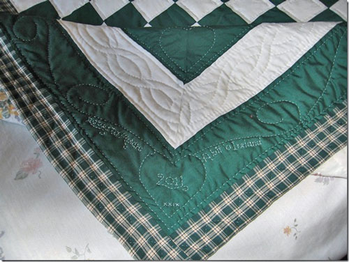 Close-up of the quilting in the borders