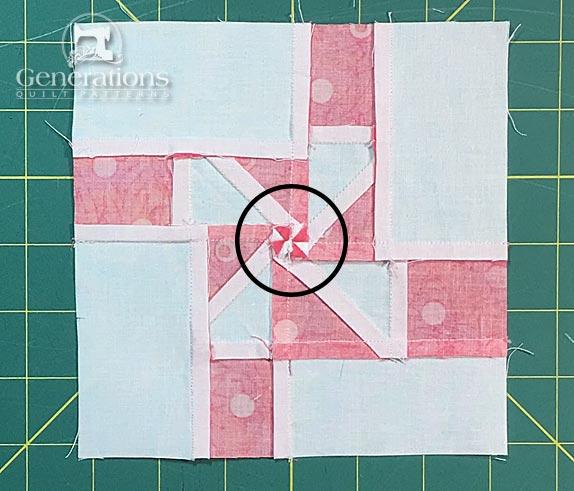 Windmill quilt block, backside
