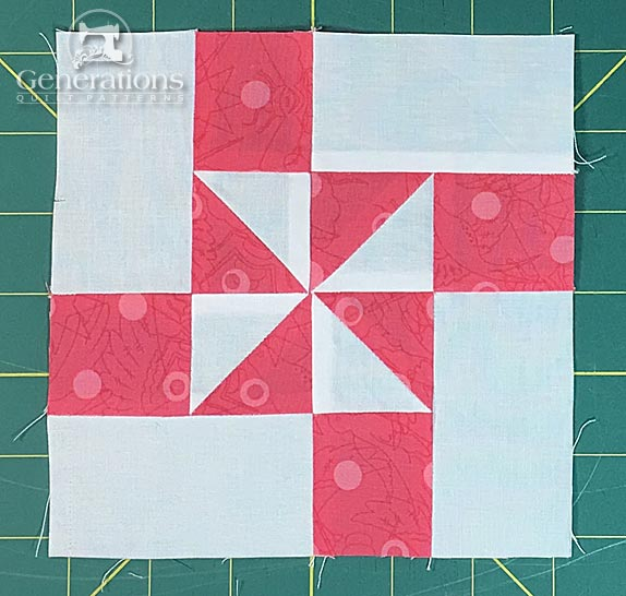 Windmill quilt block, front side