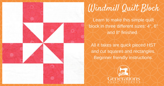 The Windmill quilt block tutorial starts here