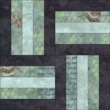 Rail Fence quilt block for a woven effect
