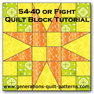 54-40 or Fight quilt block tutorial