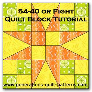 54-40 or Fight quilt block tutorial