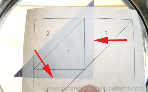 Position the patch even with the dashed lines