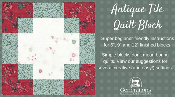 The Antique Tile quilt block tutorial begins here