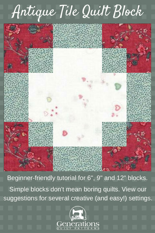 Pin the Antique Tile block instructions for later