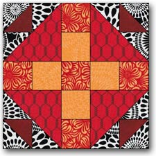 A Duck and Ducklings quilt block variation