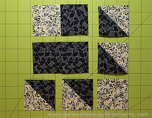 The units are ready to stitch into a Bear Tracks quilt block