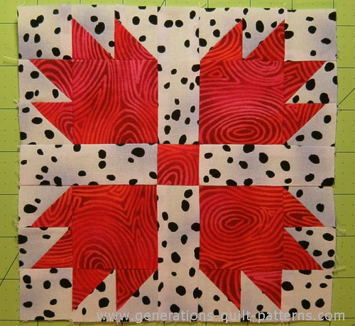 The finished Bear's Paw quilt block!