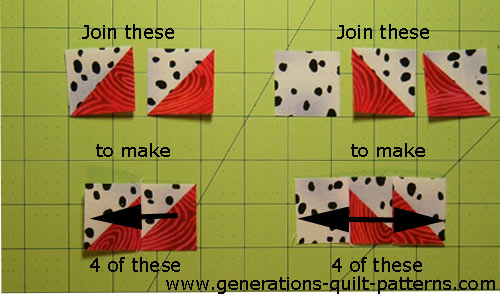 Stitch four each of the following two groups of patches