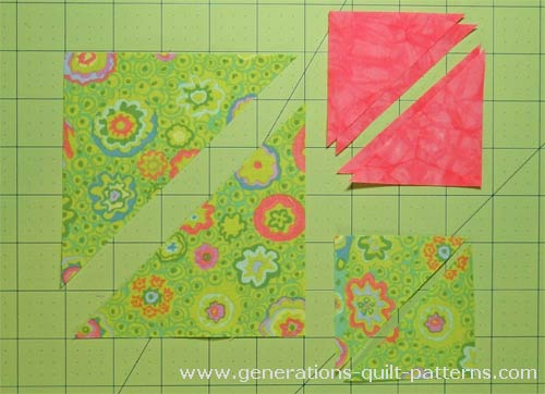 Your cut patches for the Birds in the Air quilt block