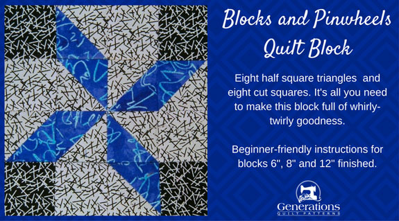"""Blocks and Pinwheels"" Free Paper Pieced Quilt Block Pattern designed by Julie Baird from Generations Quilt Patterns"