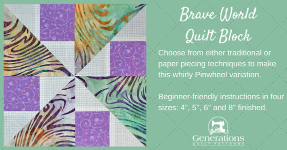 Learn how to make a Brave World quilt block. Choose your favorite technique: traditional or paper piecing. Fully-illustrated instructions in four sizes. 4