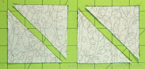 Cut each pair of squares in half on the drawn line