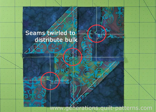 Twirl the seam allowances to distribute bulk