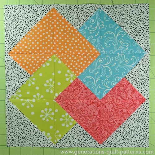 The finished Card Trick quilt block