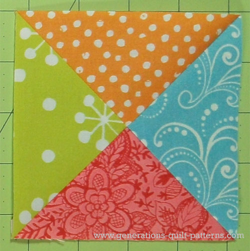 Finished center quarter square triangle