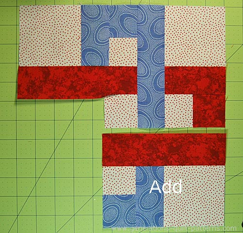Add the third unit to the first two and center square.