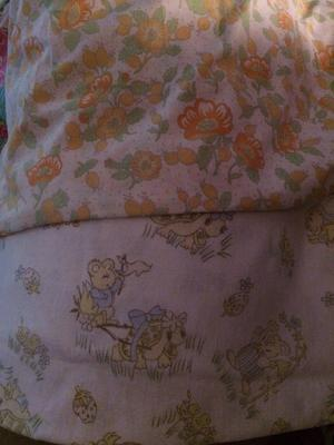 The 2 fabrics (they are more faded in real life )