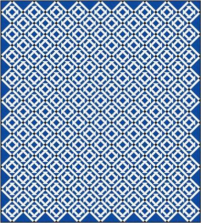 Churn Dash quilt design, diagonal set with sashing