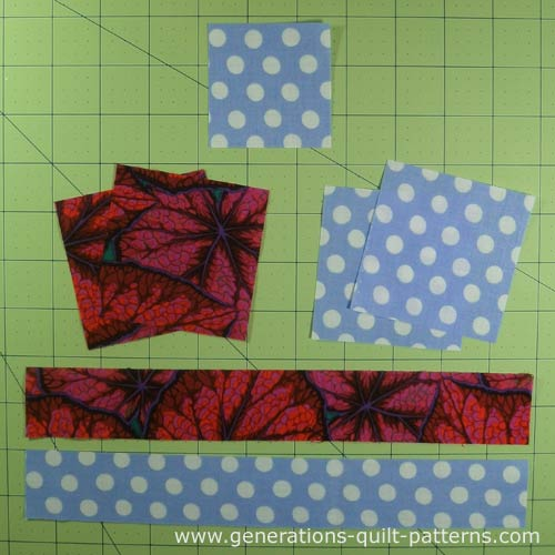 Cut patches to make a Churn Dash quilt block