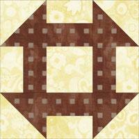Churn Dash quilt block aka Shoofly