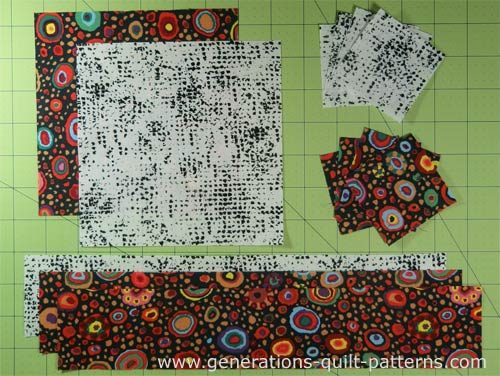 The patches are cut for your Churn Dasher quilt block