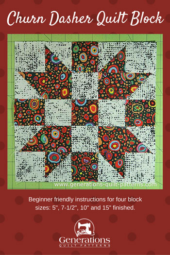 Churn Dash quilt block pin for later