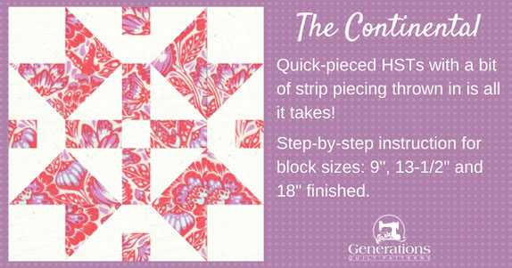 The Continental quilt block is made lickety-split from quick-pieced half square triangles with a bit of strip piecing throw in. Step-by-step instructions. Free downloadable coloring page.