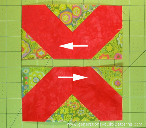 Press the seams in opposite directions
