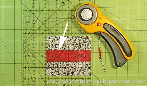 Straighten the short edge of each strip set with your rotary cutter and ruler