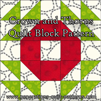 """Crown and Thorns Quilt Block"" Free Paper Pieced Quilt Block Pattern designed and from Generations Quilt Patterns"