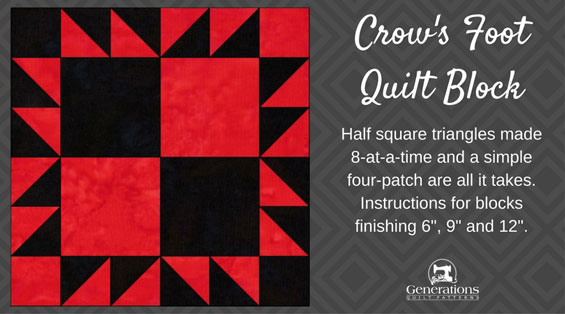 The Crow's Foot quilt block tutorial starts here
