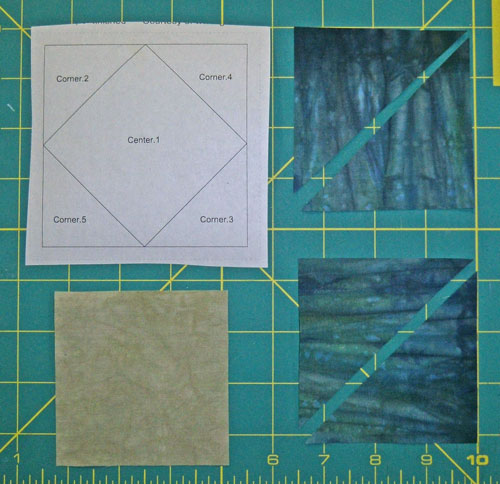 Cut patches for a paper pieced square in a square unit