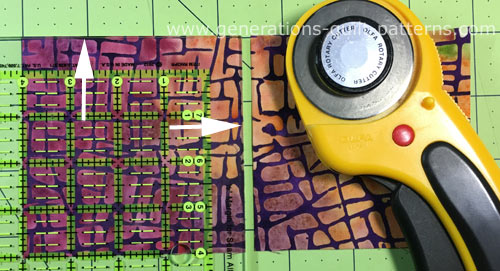 Using the On-Point ruler to cut the center square