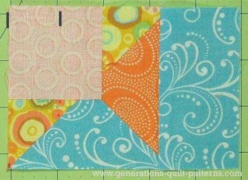 Sew a partial seam to attach the center square