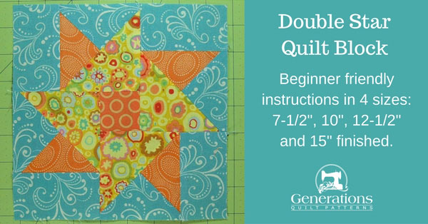 Double Star quilt block tutorial starts here.