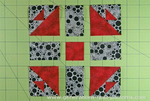 Lay out the patches into three rows