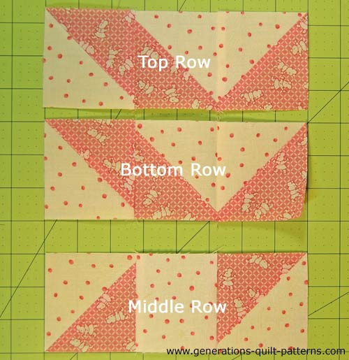 Turn the top and bottom rows in the same direction. Then you can see they are pieced exactly the same.