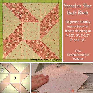 The Eccentric Star quilt block tutorial starts here...