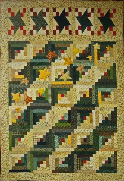 Example of echo quilted stars