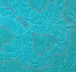 This is an example of echo quilting using a contrasting 100 wt silk thread to emphasize the feathers.