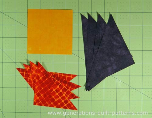 Cut patches for the Economy quilt block