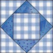 Hourglass quilt block, Economy variation 6