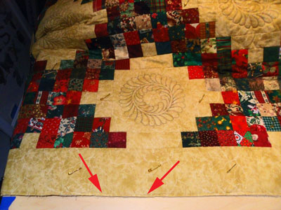 Edge stitching to hold the quilt layers together