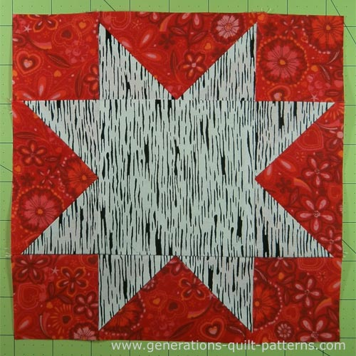 Finished Evening Star quilt block