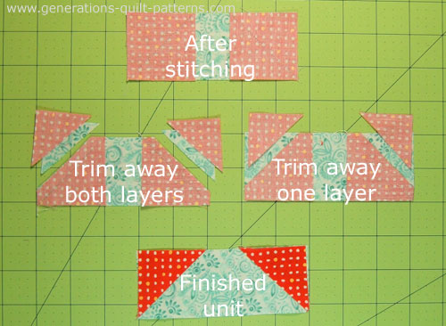 Options for trimming away the excess fabric to reduce bulk.