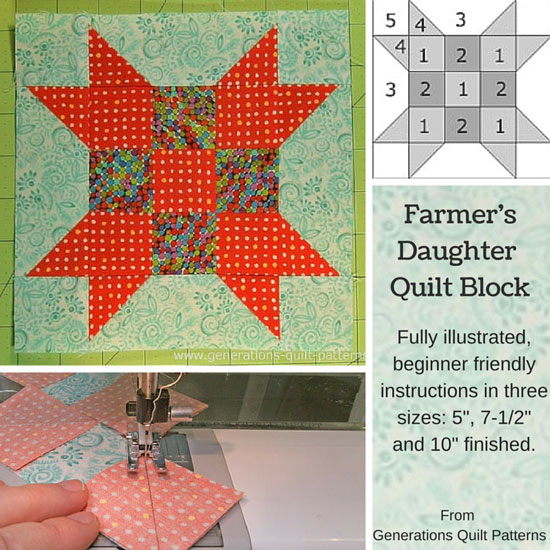 The Farmer's Daughter Quilt Block tutorial begins here