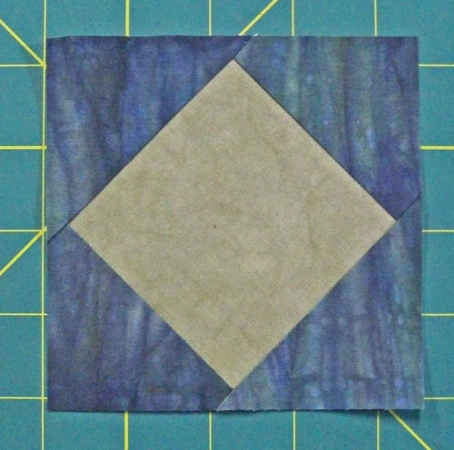 A finished square in a square quilt block unit ready to use