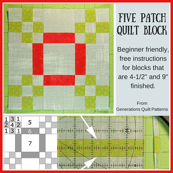 Five Patch quilt bock tutorial